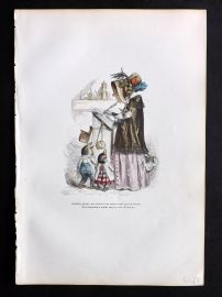Grandville 1842 Hand Col Print. Author Bird with Chicks